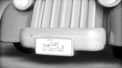 Just married! 3D Car Animation Black and White Vintage Look Stock Footage