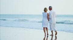 Loving Caucasian seniors enjoying walking on the ocean beach Stock Footage