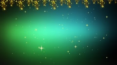 Wedding Motion Loopable Background 042, Green floral BG with Stars Stock Footage