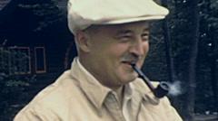 USA 1943: man smoking pipe Stock Footage