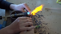 Master class of firing glass Stock Footage