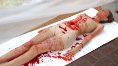 Vegan vegetarian meat equals killing protest Stock Footage