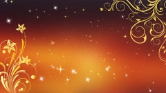 Wedding Motion Loopable Background 041, Orange floral BG with Stars Stock Footage