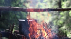 The Cauldron On The Big Fire In The Wood Stock Footage