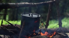 The Cauldron On The Small Fire In The Wood Stock Footage