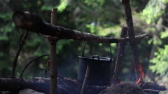 The Cauldron On The Middle Fire In The Wood Stock Footage