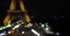 Mobile photo of illuminated Eiffel Tower at night Stock Footage