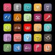 Slow life activity line icons with long shadow Stock Illustration