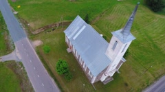 Church building. Camera zoom and tilt. Aerial footage. - stock footage