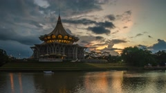 Time lapse of sunrise at Sarawak river. Stock Footage