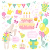 Birthday celebration attributes vector icons. - stock illustration