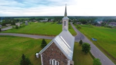 Camera around church building. Point of interest. Aerial view. - stock footage
