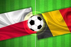Poland - Belgium - Soccer field with ball - stock illustration