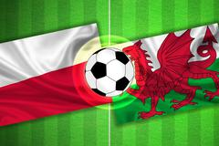 Poland - Wales - Soccer field with ball - stock illustration