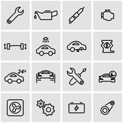 Vector line car service icon set Stock Illustration