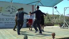 Woman gives master class of Ukrainian dance  - stock footage
