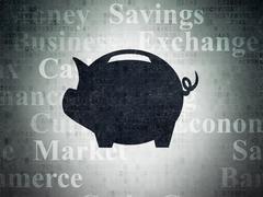 Money concept: Money Box on Digital Data Paper background - stock illustration