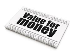 Money concept: newspaper headline Value For Money Stock Illustration