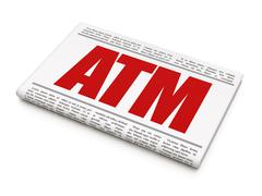 Money concept: newspaper headline ATM - stock illustration