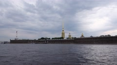 View on Peter and Paul Fortress from Big Neva water area, sailing camera Stock Footage