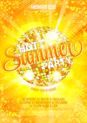 Summer Beach Party Template or Flyer design on glossy background Stock Illustration