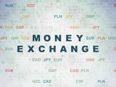 Currency concept: Money Exchange on Digital Data Paper background - stock illustration