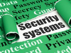 Protection concept: black text Security Systems under the piece of  torn paper - stock illustration