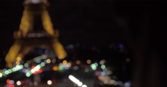 Mobile shot of illuminated Eiffel Tower at night Stock Footage