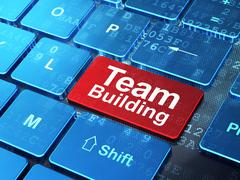 Business concept: Team Building on computer keyboard background - stock illustration