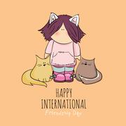 cute girl with cats doodle illustration. friendship day - stock illustration