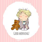 the bobblehead with curled hair. wish card. vector character. doodle - stock illustration
