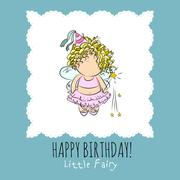 vector illustration of a fairy with magic stick. congratulations card - stock illustration