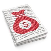 Finance concept: Money Bag on Newspaper background - stock illustration