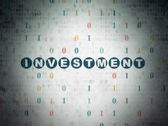 Business concept: Investment on Digital Data Paper background - stock illustration