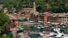 Picturesque Buildings Luxury Houses Traditional Homes In Portofino Liguria Italy Stock Footage
