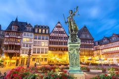 Frankfurt old town sunset - stock photo