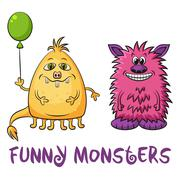 Cartoon Monsters Set - stock illustration