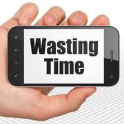 Timeline concept: Hand Holding Smartphone with Wasting Time on display Stock Illustration