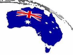 Australia on globe with flag - stock illustration