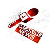 News concept: Breaking News And Microphone on Digital background Stock Illustration