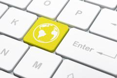 Education concept: Globe on computer keyboard background - stock illustration