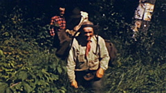 USA 1944: man walking in the forest Stock Footage