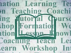 Learning concept: Book on Digital Data Paper background - stock illustration