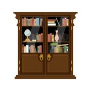 Antique Wooden Cupboard With Books Stock Illustration