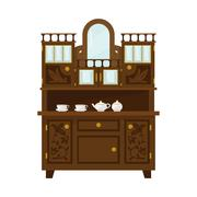 Antique Wooden Cupboard With China - stock illustration