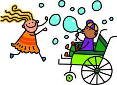Doodle Kids Blowing Bubbles - stock illustration