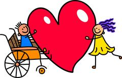 Disabled Boy with Big Heart Love - stock illustration