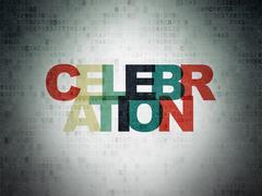 Holiday concept: Celebration on Digital Data Paper background - stock illustration