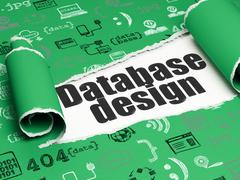 Database concept: black text Database Design under the piece of  torn paper - stock illustration
