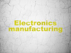 Manufacuring concept: Electronics Manufacturing on wall background Stock Illustration